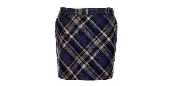 Modrá károvaná sukňa Tommy Hilfiger