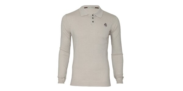 Pánsky béžový sveter s límčekom Paul Stragas