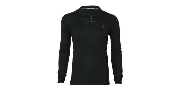 Pánsky čierny sveter s límčekom Paul Stragas