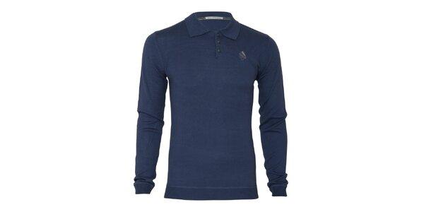 Pánsky modrý sveter s límčekom Paul Stragas