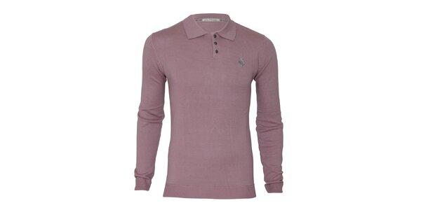 Pánsky ružovofialový sveter s límčekom Paul Stragas