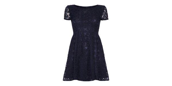 Dámske čierne čipkované šaty Iska