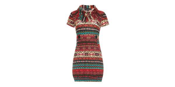 Dámske pestrofarebné šaty s krátkym rukávom Iska