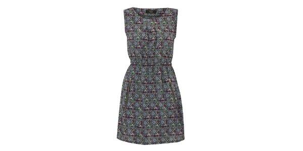 Dámske šedo-zelené šaty so vzorom a zipsami na sukni Iska