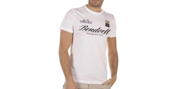 Pánske biele tričko s výšivkami Bendorff