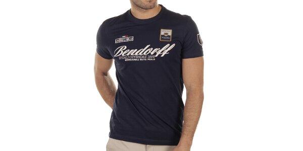 Pánske tmavo modré tričko s výšivkami Bendorff