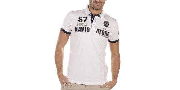 Pánske biele polo tričko s výšivkami Bendorff