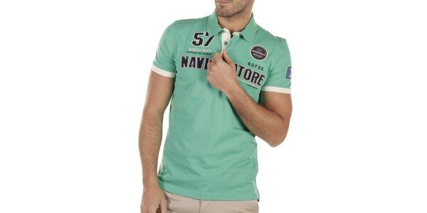 Pánske zelené polo tričko s výšivkami Bendorff