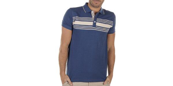 Pánske modré polo tričko s prúžkami Bendorff