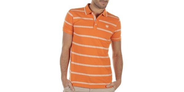 Pánske oranžové polo tričko s prúžkami Bendorff