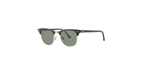 Čierne slnečné okuliare Ray-Ban Clubmaster so zlatými obrubami