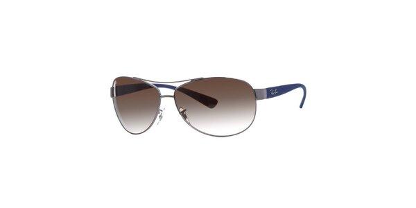 Oválne slnečné okuliare s modrými stranicami Ray-Ban