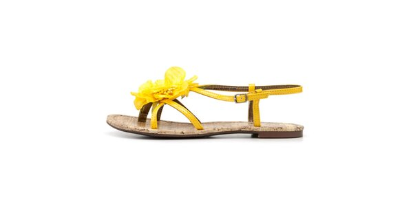 Dámske sandálky so žltou kvetinou Blink