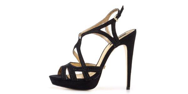 Dámske čierne sandálky na vysokom opätku Blink