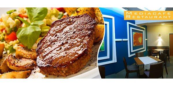 Hovädzí steak na hrianke s grilovanou zeleninou