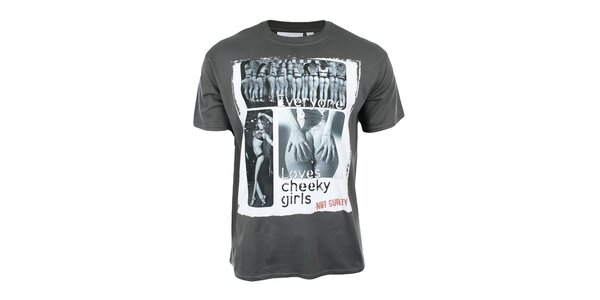 Pánske tmavo šedé tričko so šteklivou potlačou Not Guilty Rich Boy
