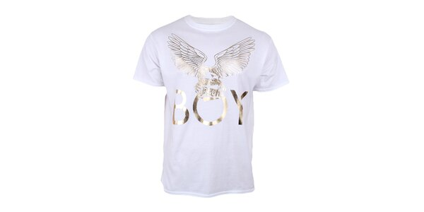 Pánske biele tričko so zlatým orlom Not Guilty Rich Boy