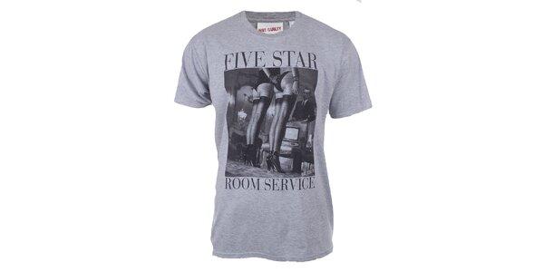 Pánske šedé tričko so sexy potlačou Not Guilty Rich Boy