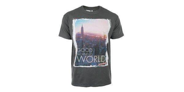 Pánske tmavo šedé tričko s potlačou Not Guilty Rich Boy