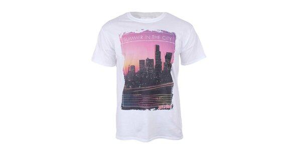 Pánske biele tričko s krátkym rukávom s mrakodrapmi Not Guilty Rich Boy
