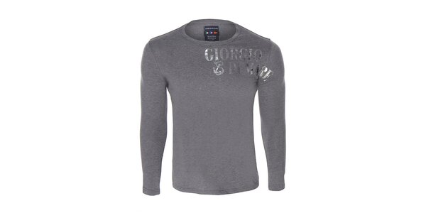 Pánske šedé tričko s dlhým rukávom a potlačou Giorgio di Mare