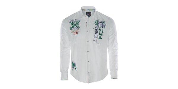 Pánska biela športová košeľa s výšivkami a potlačou Giorgio di Mare