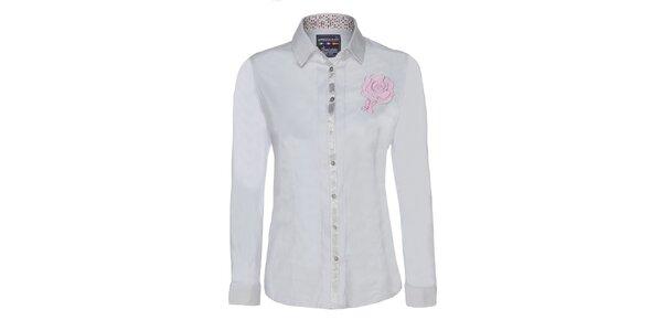 Dámska biela košeľa s kvetinou Giorgie Di Mare