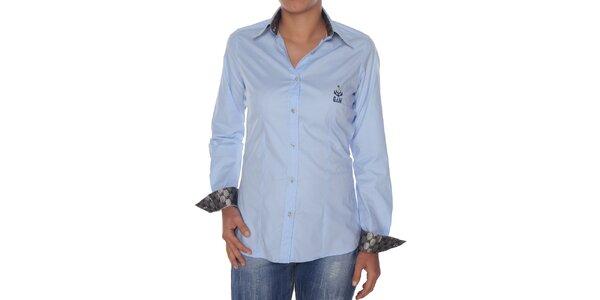 8c96957a6840 Dámska svetlo modrá košeľa so striebornými detailmi Giorgio di Mare