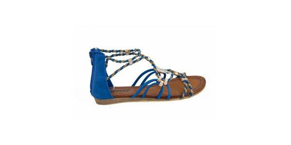 Dámske modré remienkové sandálky Vanessa