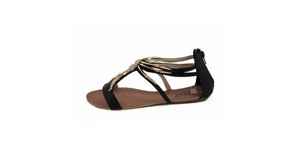 Dámske čierne sandálky so zlatou ozdobou Vanessa