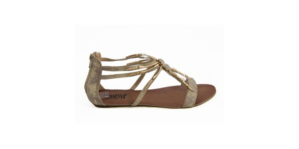 Dámske sandálky so zlatou ozdobou Vanessa