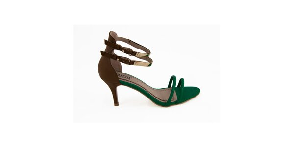 Dámske hnedo-zelené remienkové sandálky Vanessa