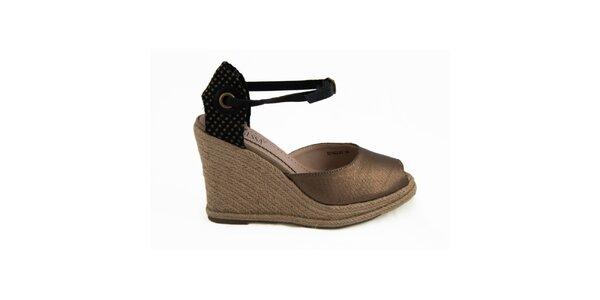 Dámske bronzové sandále na kline Vanessa