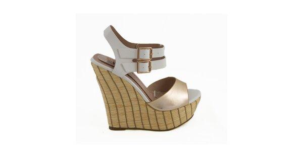Dámske bielo-zlaté sandálky na kline Vanessa
