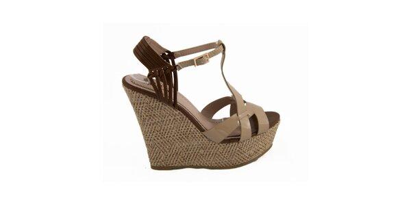 Dámske béžové sandálky na kline Vanessa