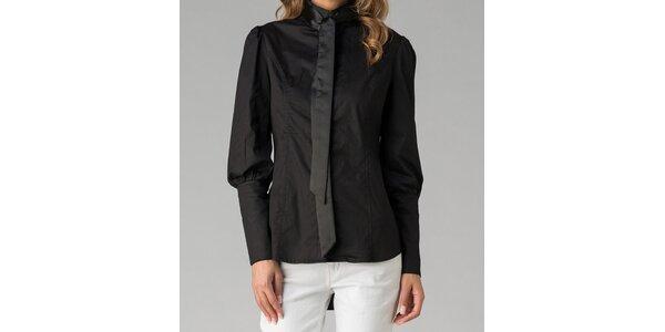 Čierna dámska košeľa s mašľou Twist