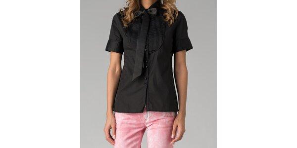 Čierna dámska košeľa s krátkym rukávom Twist