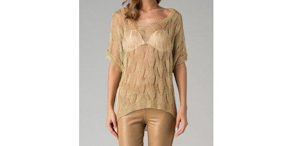 Zlatý sveter s dierovanou vzorkou Twist