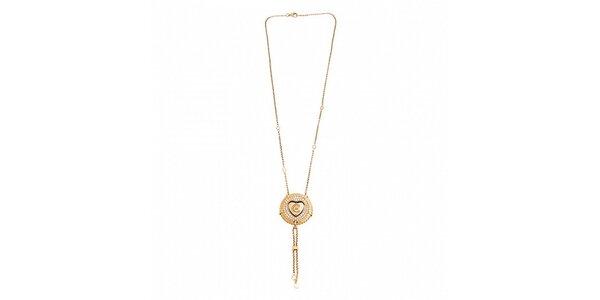 Dámsky zlatý oceľový náhrdelník Cerruti 1881 s medajlónikom