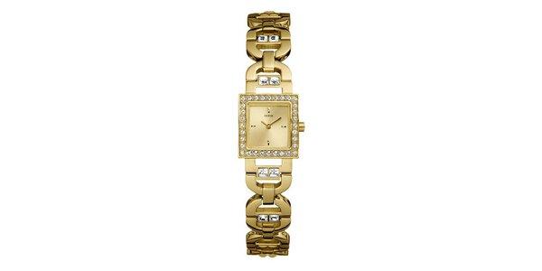 Pozlatené dámske hodinky Guess