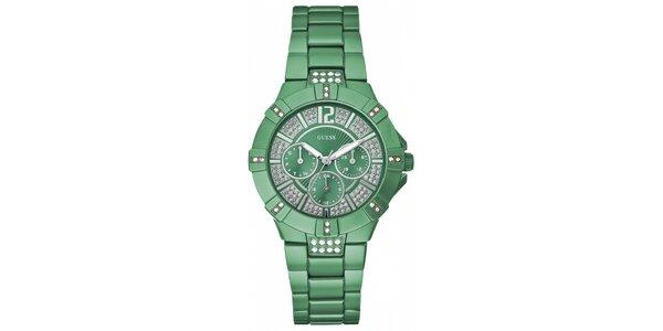 Dámske zelené náramkové hodinky Guess