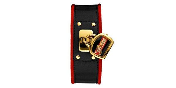Dámske červeno-čierne hodinky Guess