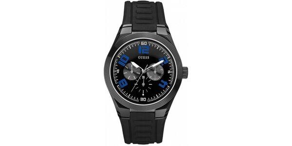 Športové čierne pánske hodinky Guess