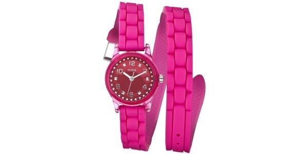 Dámske ružové náramkové hodinky Guess