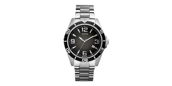 Pánske nerez hodinky s čiernym ciferníkom Guess