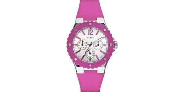 Dámske ružové silikonové hodinky Guess