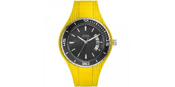 Pánske žlté náramkové hodinky Guess