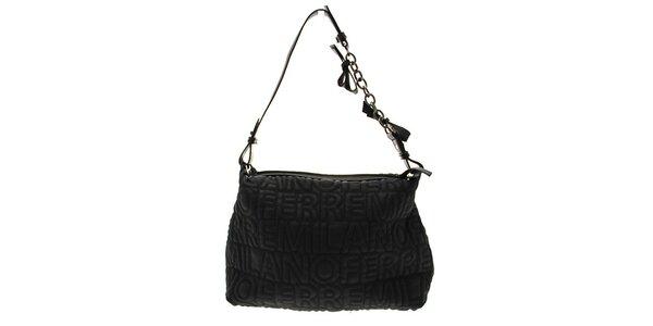 Čierna kabelka s logom Ferré zo syntetickej kože
