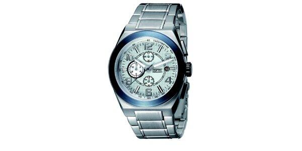Strieborné hodinky s chronografom a modrou lunetou Esprit