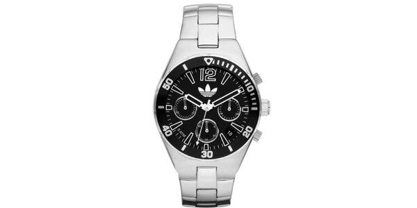 Unisexové oceľové hodinky s čiernym ciferníkom Adidas
